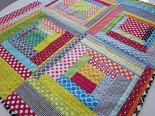 lots of polka dots, log cabin quilt-as-you-go baby quilt by svetlana at s.o.t.a.k.handmade.