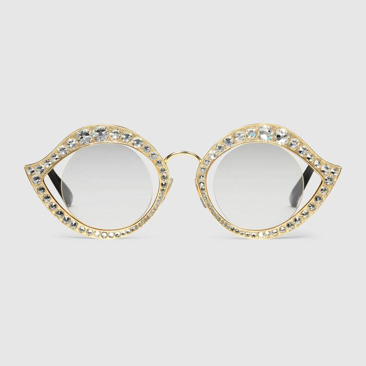 Cat-eye sunglasses with crystals