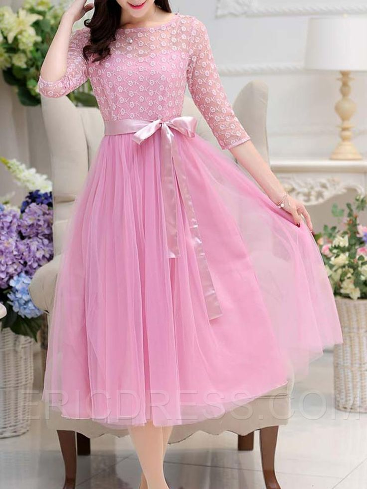 29 75 ericdress mesh patchwork lace up casual dress lace