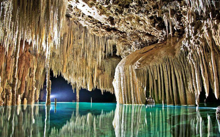 Jaskinia, Stalaktyty, Rzeka, Secreto, Riviera, Maya