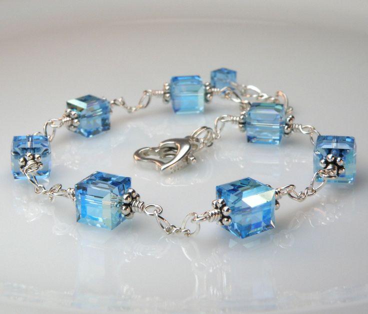 Blue Crystal Bracelet, Blue Topaz Color, Swarovski Petite Cube, Wedding, Bridesmaid, Handmade Jewelry. $35.00, via Etsy.