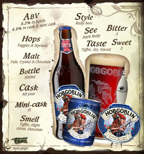 Craft brewed Wychwood Hobgoblin beer is perfect for Hallowe'en