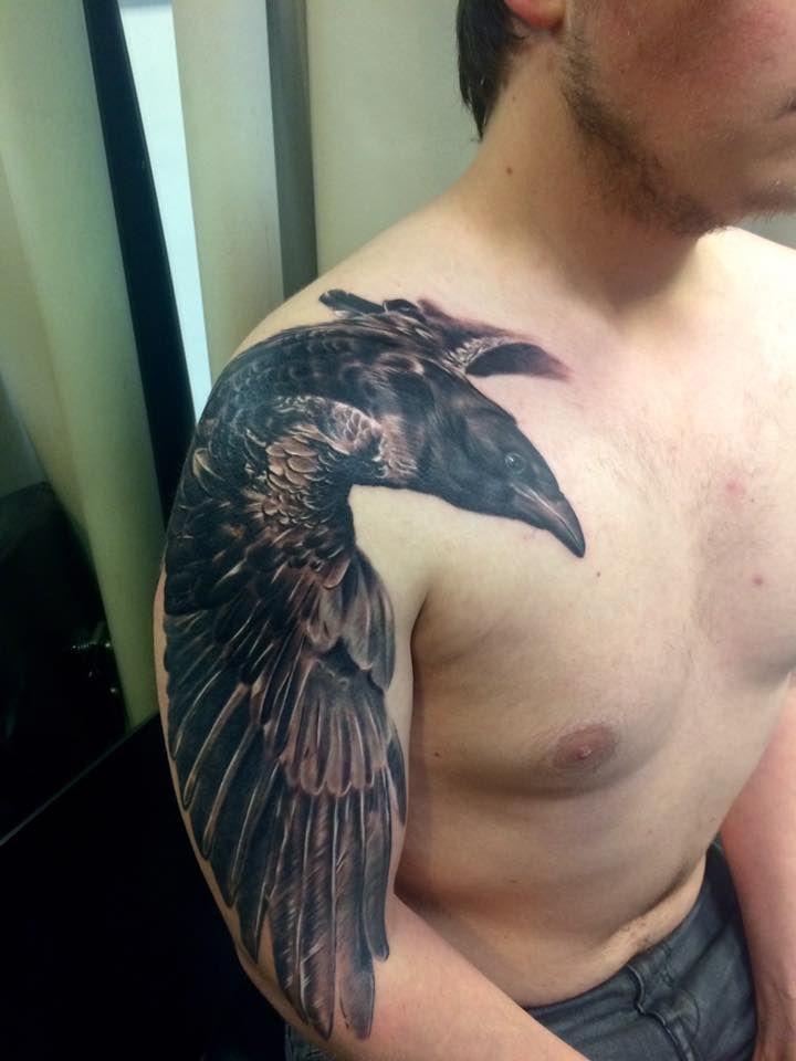 Raven tattoo by Diyan Ivanov at Tattoo Sanctuary Southampton UK