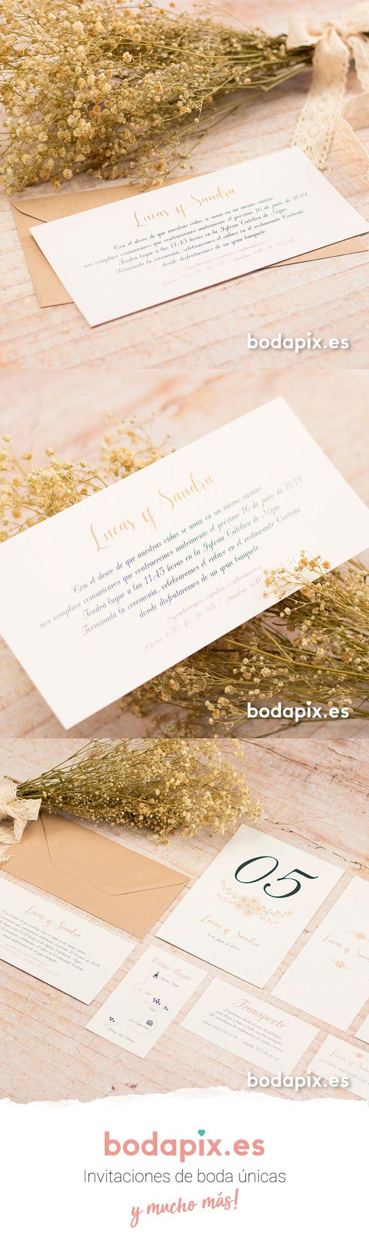 Invitación de boda floral ideal para bodas rústicas – Modelo Maya – Colección Bodapix #bodapix #bodas #invitaciones #wedding #weddinginvitations #cards #rustic