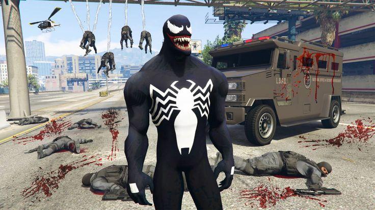 "GTA 5 Mods - SPIDERMAN ""VENOM"" MOD w/ WEB SHOOTER! GTA 5 Venom Mod Gamep..."