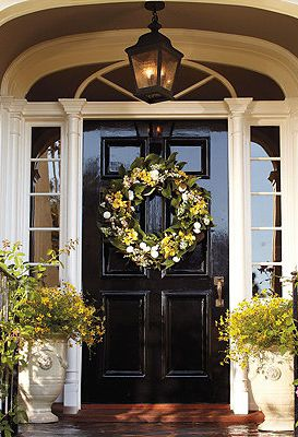 Beautiful, inviting front door. Amazing what a nice coat of fresh gloss paint can do to improve curb appeal. Who wouldn't want to walk in and see this home right away??Savannah Wreath