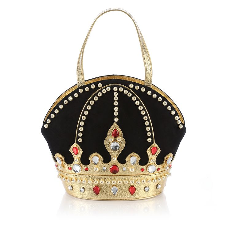 CORONA - BRACCIALINI - Rigid leather handbag shaped like a crown. Made and processed by hand. Handheld bag. Made in Italy