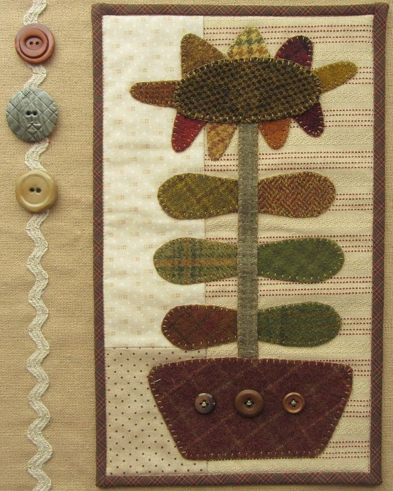 Primitive Wool Applique Pattern and Kit by FarmhouseWoolens, Etsy