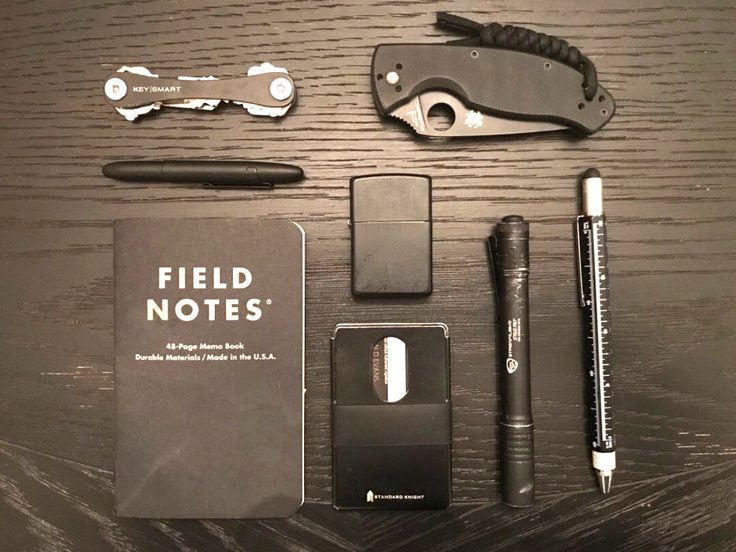 Black out carry  submitted by GrizzlyEDC  Field Notes Pitch Black Edition  Standard Knight Co. Minimalist Modern Wallet - Slim Credit Card Wallet with 2 Silicone Bands RFID Card Bottle Opener and 18-in-1 Multipurpose Tool - Premium Quality Coated Stainless Steel  Keysmart Titanium 2.0 Premium Compact Key Holder  Spyderco Tenacious Black G-10 Handle Black Blade Plain  Zippo Classic Black Matte  Streamlight Stylus Pro  Super 6 in 1 Tech Tool Pen with Scale Levelgauge Ballpoint Pen Stylus and 2…