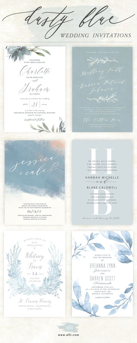Gorgeous selection of Dusty Blue wedding invitations. See more wedding designs at Elli.com.