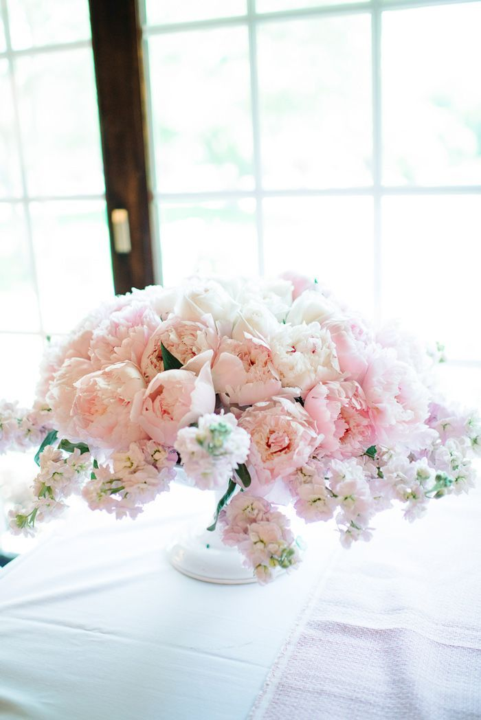 Gorgeous Pale Pink Centerpiece // Grey Likes Weddings