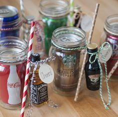 So freaking cute - you just have to see them! Wrap up a Ball jar drinking mug, soda and a mini bottle of alcohol for a darling DIY cocktail gift!