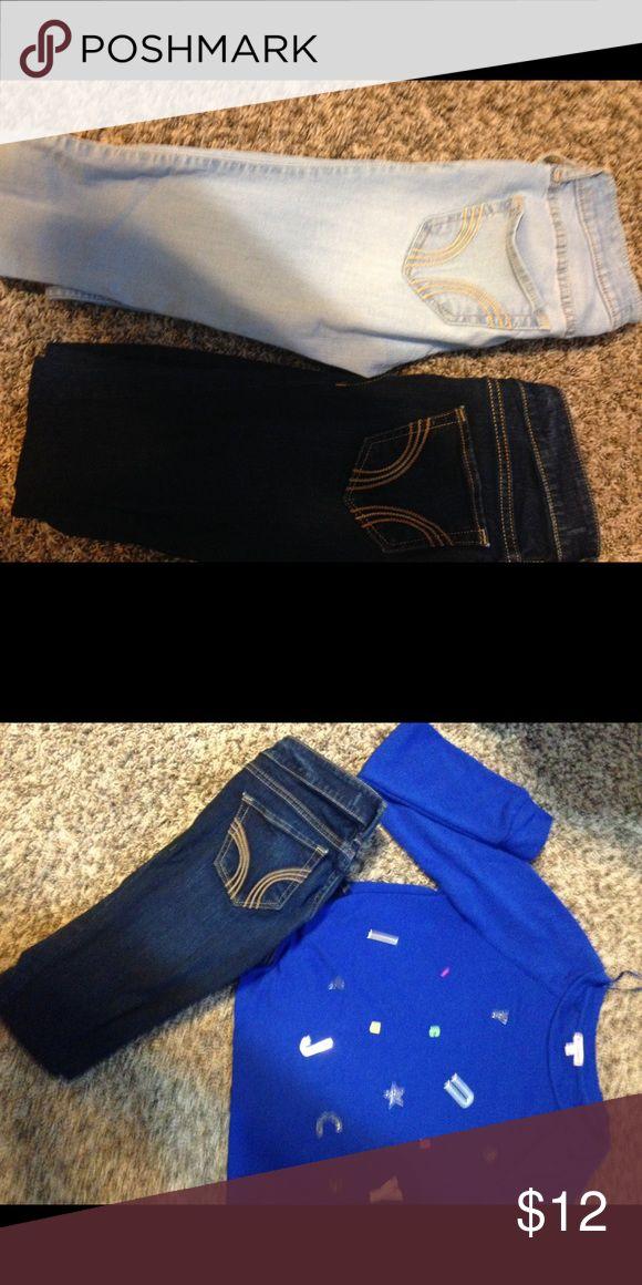 Hollister jeans! Light and dark blue hollister skinny jeans Hollister Jeans Skinny
