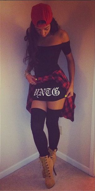When you wanna be Chola Thug, but you also wanna look Sexy: Clubbing dress paired with thigh high socks and booties: Add a snapback and a flannel shirt to complete the Chingona look ;3