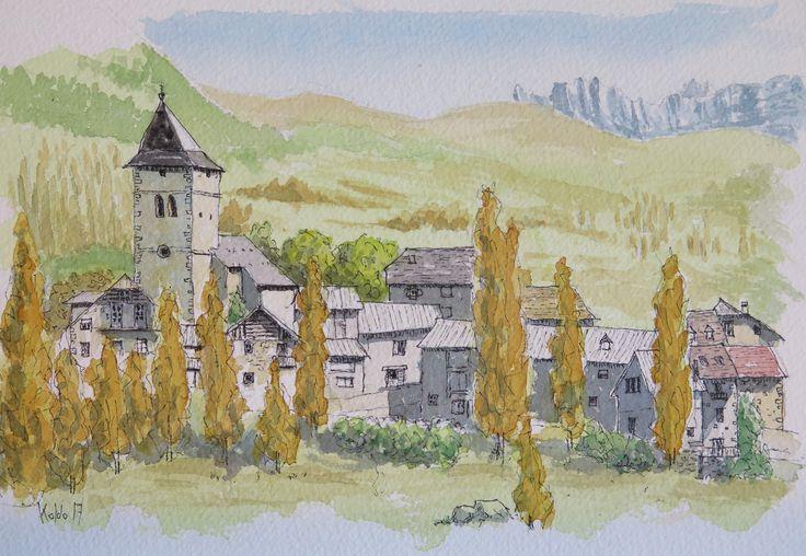 Sín. Pirineos de Huesca en el Sobrarbe. Acuarela en papel Arches 300gr,  26 x 18