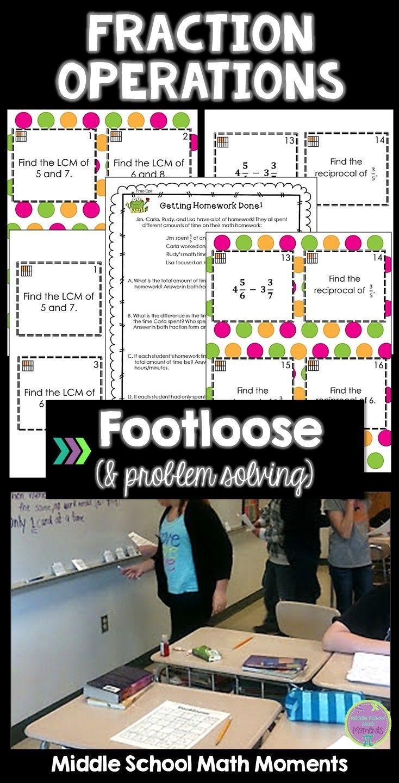 Fraction operations task cards footloose math game problem solving