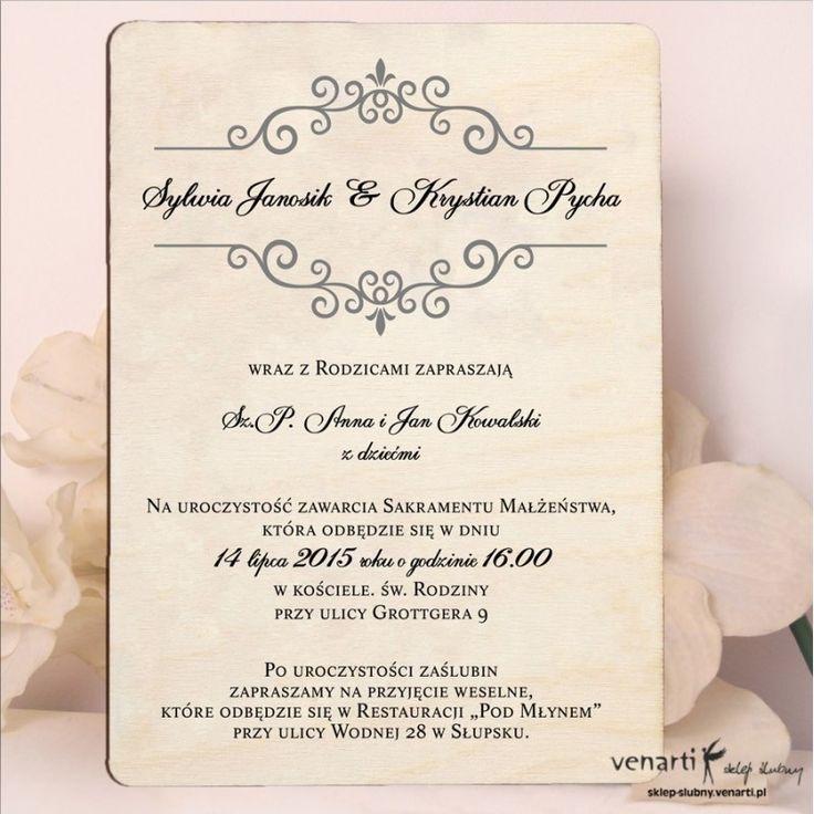 rewniane zaproszenia ślubne Wzorek ozdobny