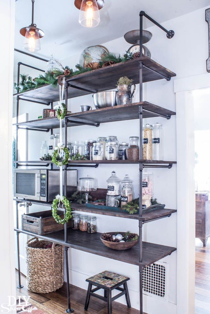"<a href=""http://diyshowoff.com/2014/01/07/tips-for-making-a-diy-pipe-shelving-unit/"" target=""_blank""><strong>DIY Industrial Pipe Shelving Unit via  DIY Showoff</strong></a>"