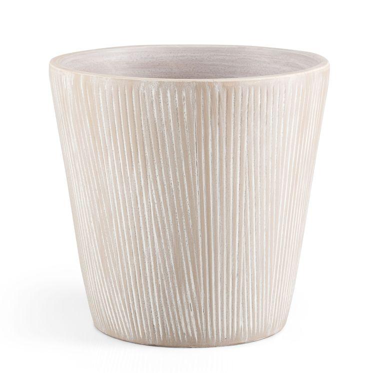 Round Glazed Terracotta Grey Painted Plant Pot (H)22cm (Dia)24cm | Departments | DIY at B&Q
