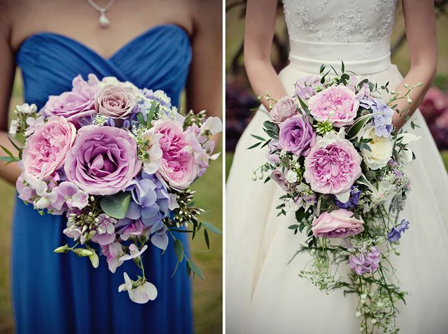 Gorgeous pink and pale purple flowers including David Austin roses