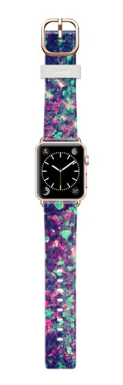 Casetify Apple Watch Band (38mm) Saffiano Leather Watch Band - Pink, Black, and Teal Grunge Kaleidescope Camo Pattern by BlackStrawberry #Casetify