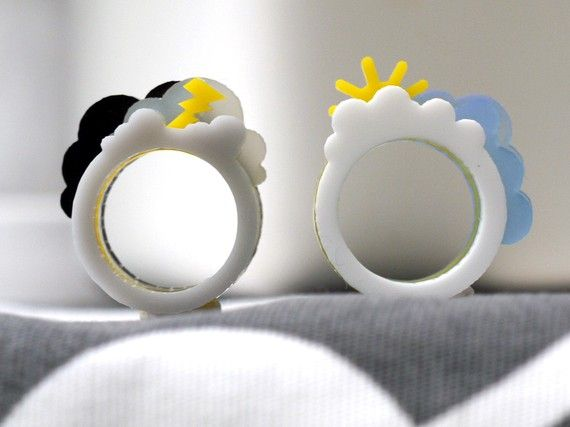 Oh, Happy Day / Oh, Crappy Day Ring Set - cute sun and storm plastic acrylic mood ring set.  http://www.etsy.com/shop/Weaselfactory