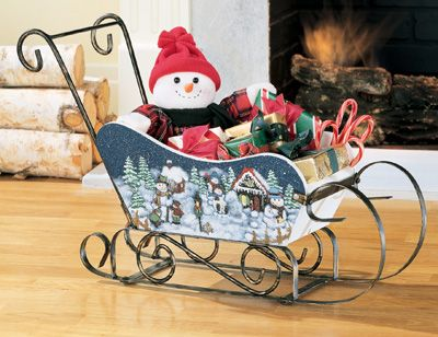 Wrought Iron Winter Holiday Snowman Sleigh Decoration