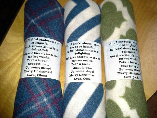 Teacher gifts. Fleece blanket with poem. I used msword to type poem in a text box, add a background and print.