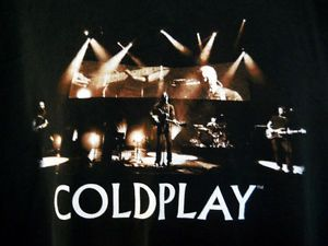XL Coldplay Black Tee Shirt 2006 Twisted Logic Tour Concert Photo Band Cities