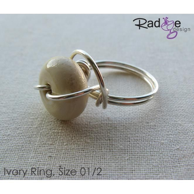 $52 Ivory Silver and Glass Ring by radgedesign on Handmade Australia