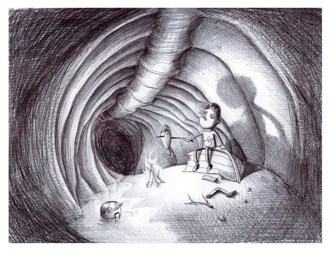 'The Cave '. Illustration by Chris Harrendence