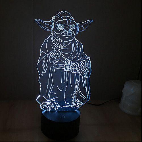 yoda tactile gradation 3d led nuit lumière 7colorful décoration atmosphère lampe nouveauté éclairage lumière de 2018 ? $21.83