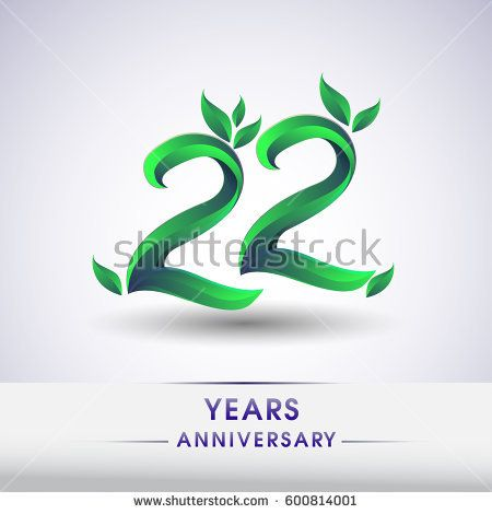 twenty two years anniversary celebration logotype with leaf and green colored. 22nd birthday logo on white background.