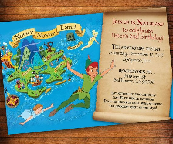 Peter Pan Invitation, Neverland Invitation, Peter Pan Birthday, PeterPan Party, Birthday Theme Idea, Pirates, Treasure Map Invitation