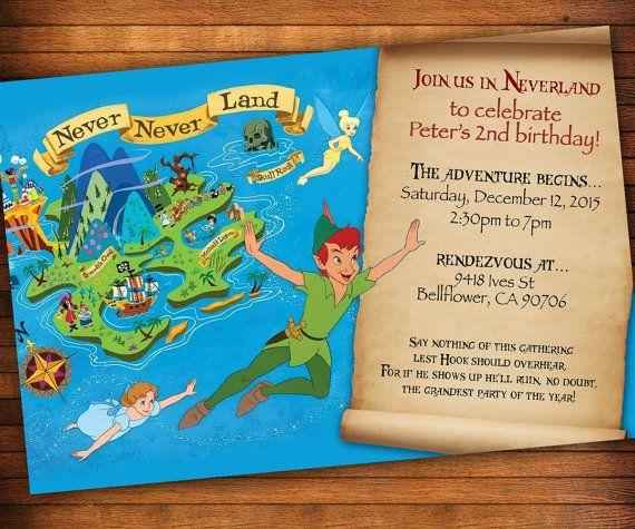 Peter Pan Invitation, Neverland Invitation, Peter Pan Birthday, PeterPan Party, Birthday Theme Idea, Pirates, Treasure Map Invitation