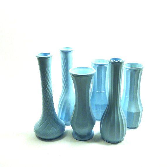 milk glass vases // shabby chic wedding decor turquoise by nashpop