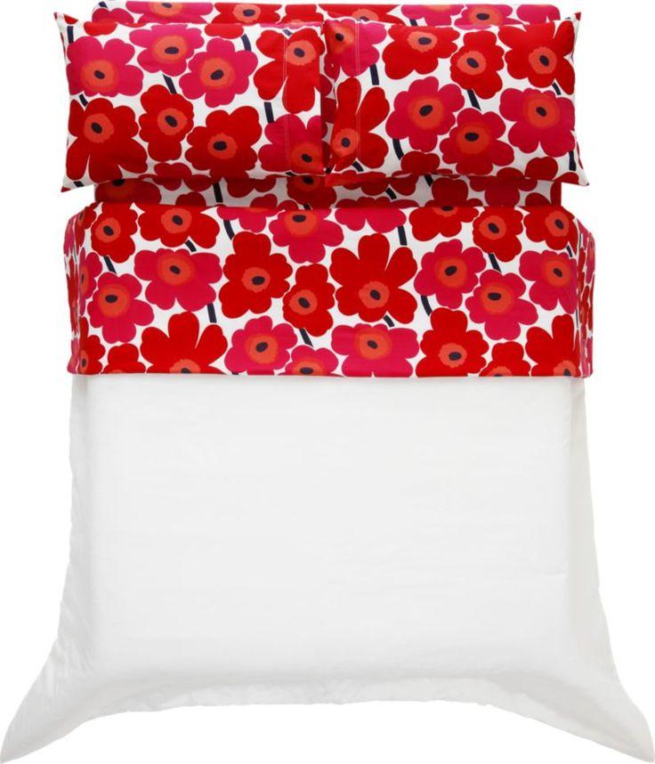 Marimekko Pieni Unikko Red Queen Sheet Set  | Crate and Barrel