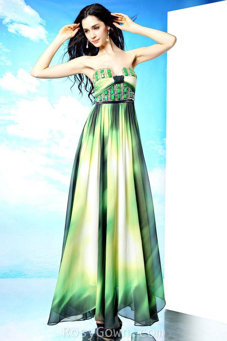 #peacock #chiffon strapless empire floor length #evening formal #dress