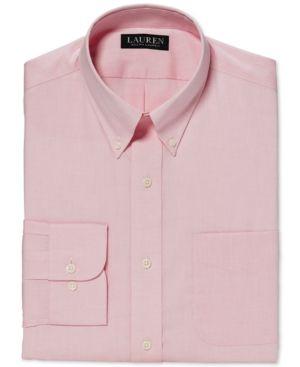 Lauren Ralph Lauren Classic-Fit Non-Iron Solid Pink Dress Shirt - Pink 17.5 36/37