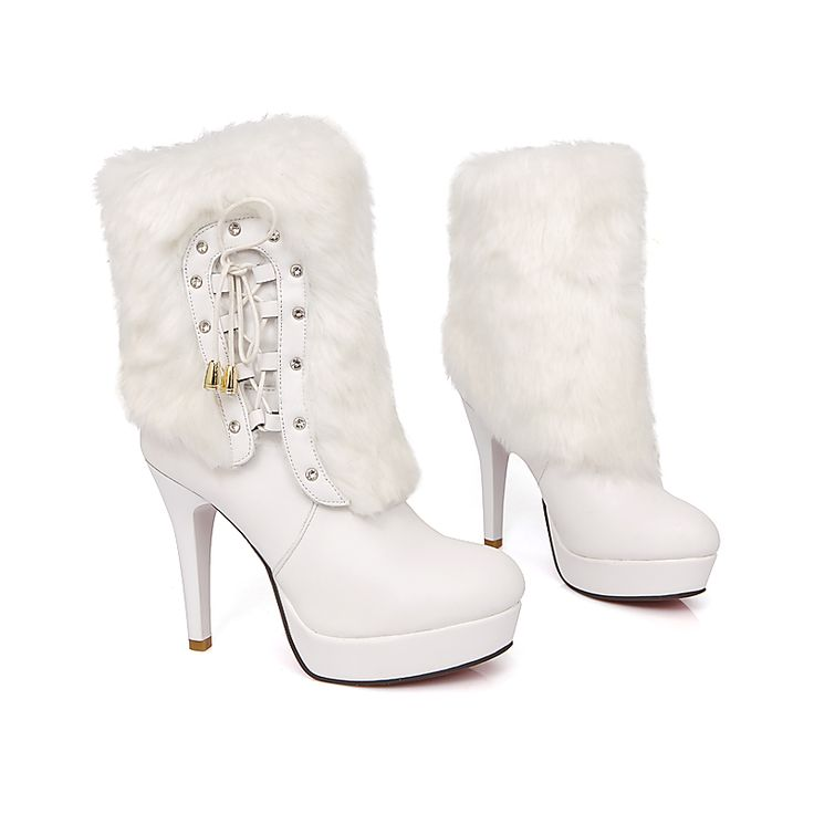 Dresswe.com SUPPLIES High Quality White PU & Cony Hair Women Boots Ankle Boots