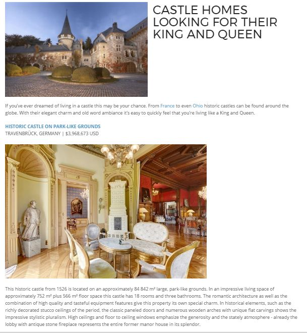 CASTLE HOMES LOOKING FOR THEIR KING AND QUEEN : If you've ever dreamed of living in a castle this may be your chance. From France to even Ohio historic castles can be found around the globe. With their elegant charm and old word ambiance it's easy to quickly feel that you're living like a King and Queen.  #PalmBeachRealEstate#KevinMLeonard#LuxuryAgent#PalmBeach#LuxuryPortfolio