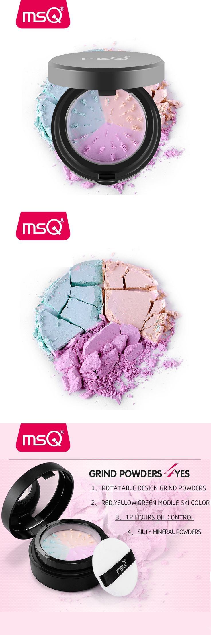 MSQ Make Up Primer Loose Powder With Puff Setting Powder Poudre Libre Oil-control Finishing Powder Matte Cosmetic Beauty Tool