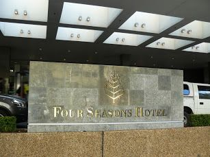 Signage at the front of the Sydney Four Seasons Hotel on George St. Giulians Jewellery is on level 3.