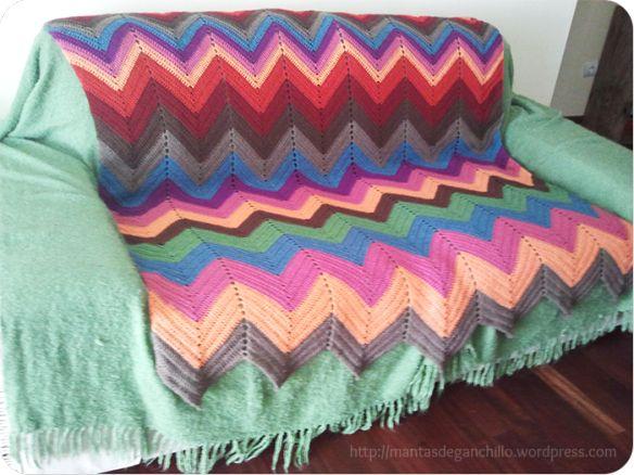 Manta de ganchillo south west para sof pie de cama - Mantas de ganchillo para sofas ...