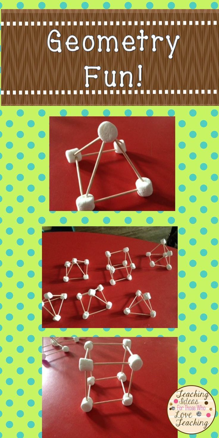 Here's a great hands on way to introduce 3D shapes! Gumdrops are a good alternative to the marshmallows, and this would also work with flat shapes.