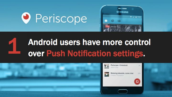 Periscope Android users have more control over Push Notifications. Full Periscope tutorial: http://tgcafe.it/periscope-tutorial?utm_content=buffer293c5&utm_medium=social&utm_source=pinterest.com&utm_campaign=buffer