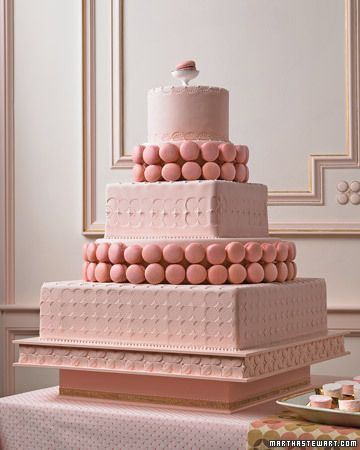 Have your cake...and cookies too! Flirty pink cake festooned with macaroons