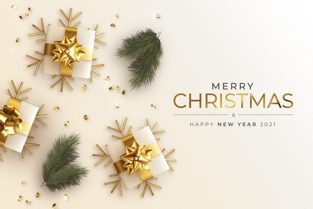 Download Realistic Christmas And New Year Greeting Card With Presents And Branches For Free Merry Christmas Card Greetings Merry Christmas Card Christmas Card Template
