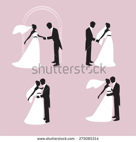 Silhouettes of the bride and bridegroom. The groom holds the hand of the bride. Bride and groom embracing and kissing. Vector http://www.shutterstock.com/pic-275085314/stock-vector-silhouettes-of-the-bride-and-bridegroom-the-groom-holds-the-hand-of-the-bride-bride-and-groom.html?src=uIoWRQhlFCQnBgd6x4YVpw-1-4