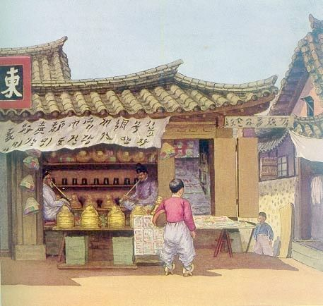 모자가게 Elizabeth Keith, 1887-1956--paintings of old Korea